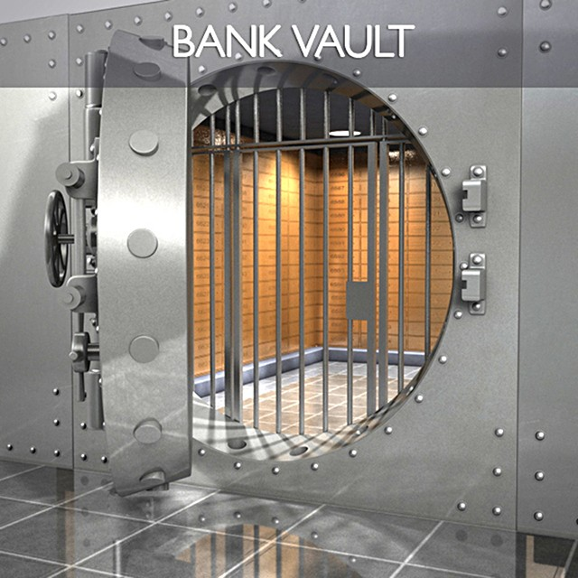 Safe vault bank money lock security savings iron c4d realistic protection tough door hinges gold robery