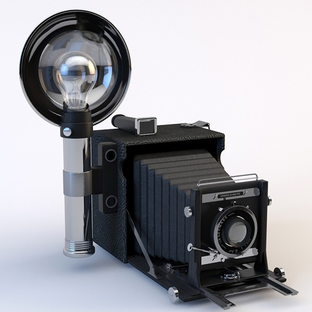 speed graphic camera realistic c4d cinema 4d photo film retro vintage old fashioned flash crown century lens press nyc photograph shutter pacemaker