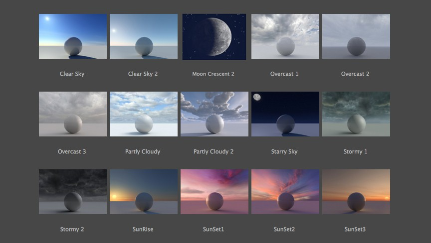 14 seamless, HDRI photographic sky panorama presets with proprietary C4Depot ambient lighting system